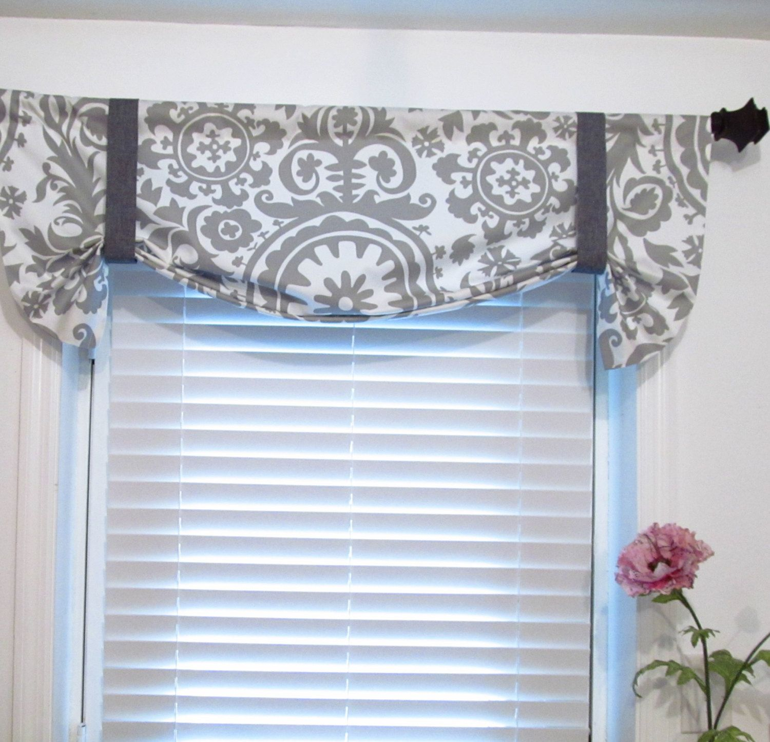 Tie Up Curtain Valance Suzani Storm Grey By Supplierofdreams Tie Up Curtains Valance Curtains Grey Kitchen Curtains