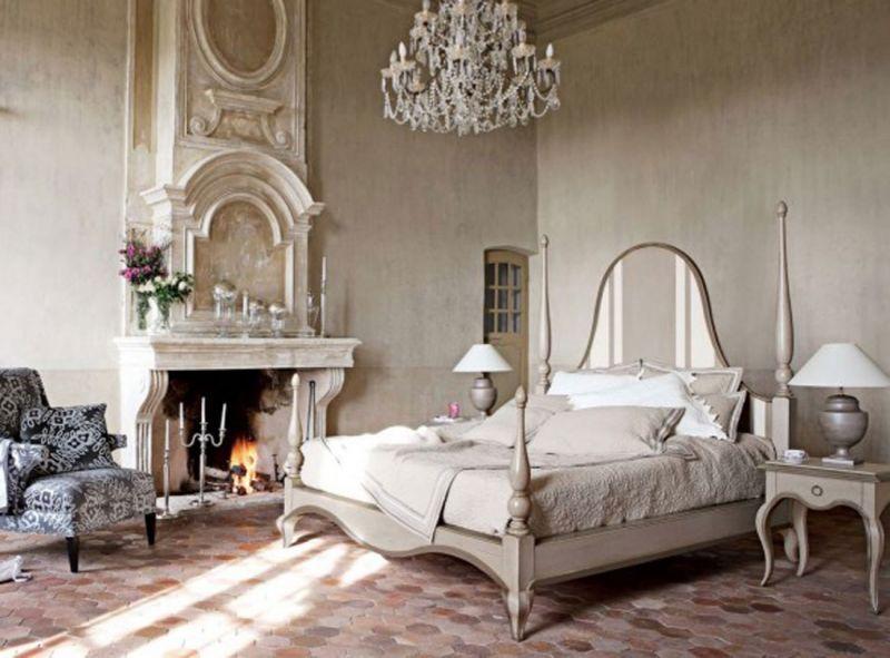 Camera Da Letto Vintage Moderno : Caminetto installato in una camera da letto arredata in stile