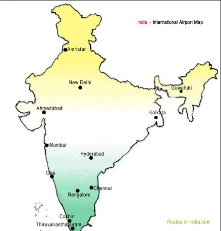Map Of India S International Airports India Map Airport Map Thiruvananthapuram