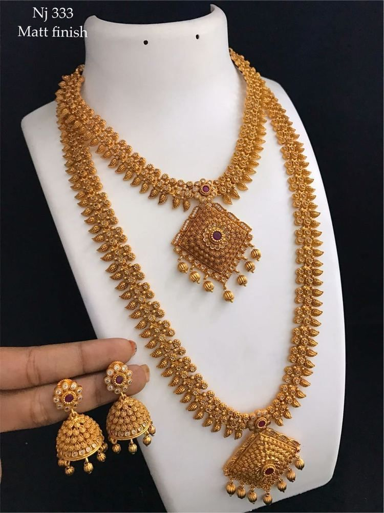 38568fee67 Indian Long Necklace Earrings Laxmi Temple Jewellery Ethnic Gold Plated  Set222 | eBay Indian Long Necklace