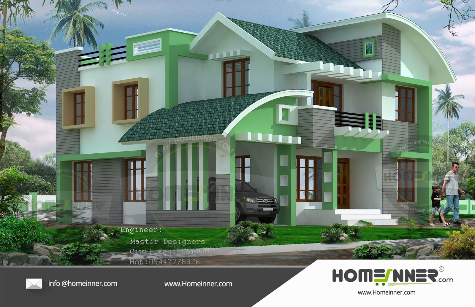 4 Cent 4 Bedroom 4bhk Readymade House Plan House Front Design