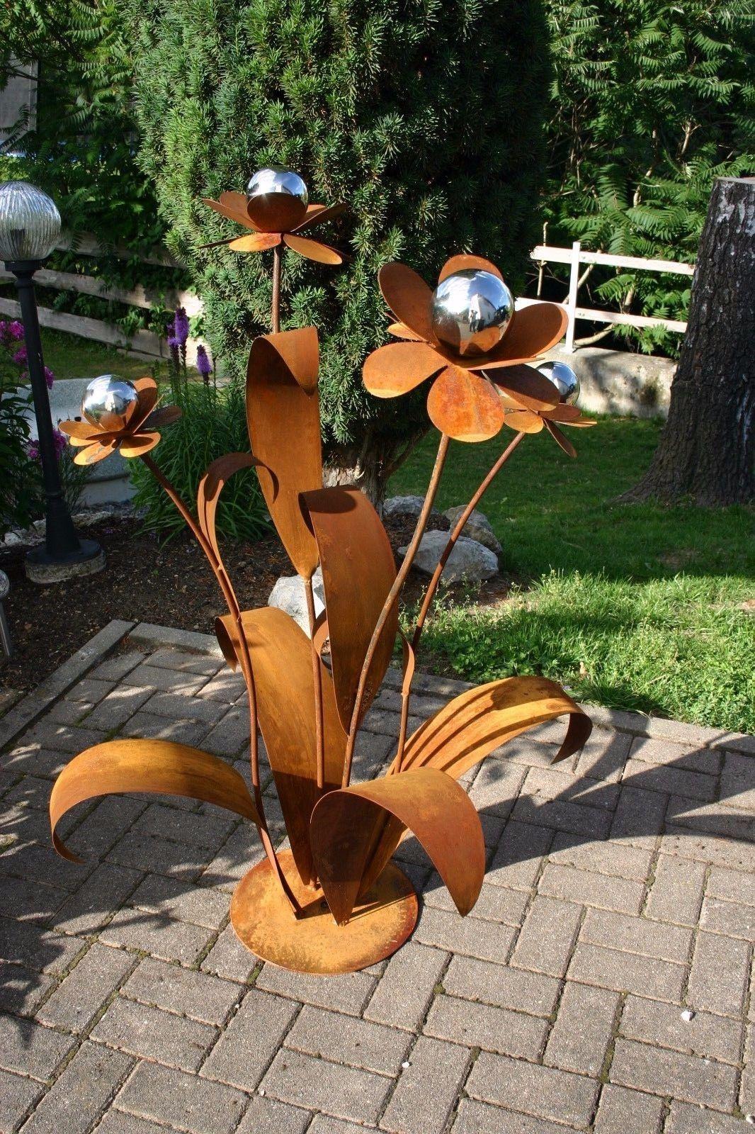 Edelrostblume Xxl Edelrost Blume Gartendeko Rost Metallblume Rost Deko Garten Gartenskulptur Gartendekoration