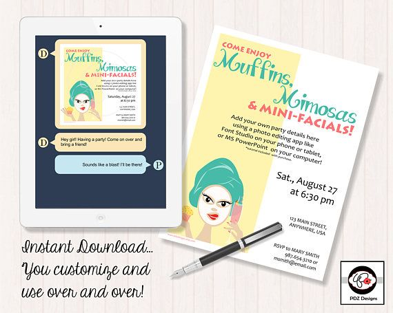 Wedding Chicks Free Invitations: Muffins Mimosas And Mini-Facials