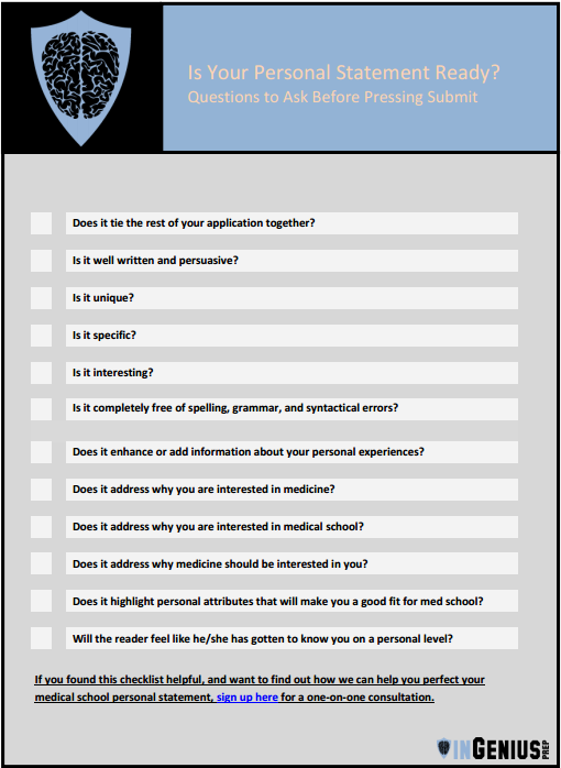 Complimentary Downloadable Checklist Is Your Medical School – Medical School Personal Statement