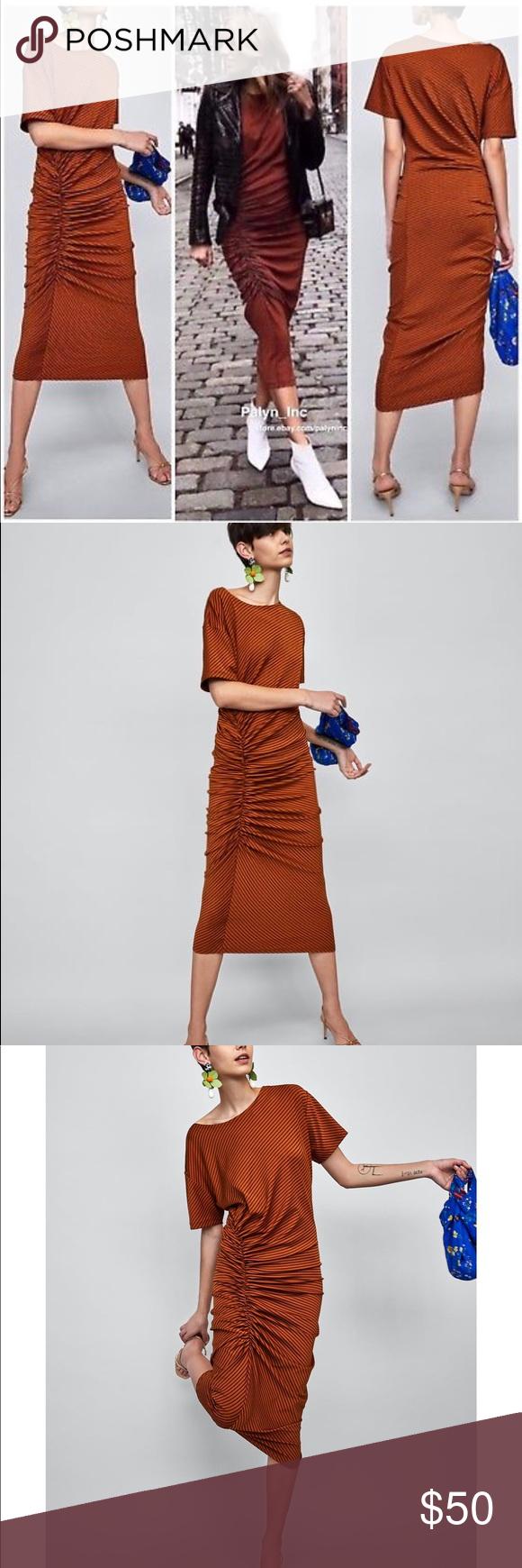 Nwt zara burnt orange striped gathered midi dress nwt my posh