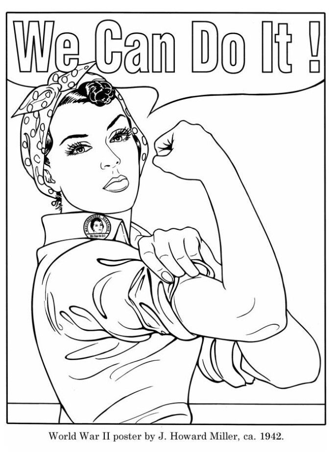 Rosie The Riveter Coloring Pages Adult Coloring Pages