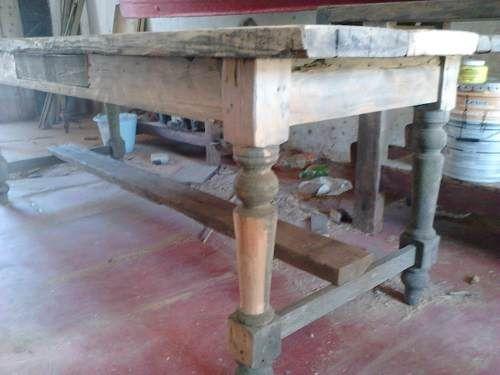 Mesa de campo rustica pinotea madera patas torneadas - Patas torneadas de madera ...