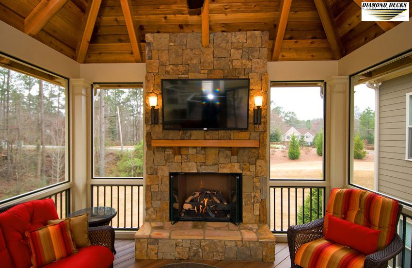Outdoor Porch Fireplace | Porch fireplace, Screened in ...