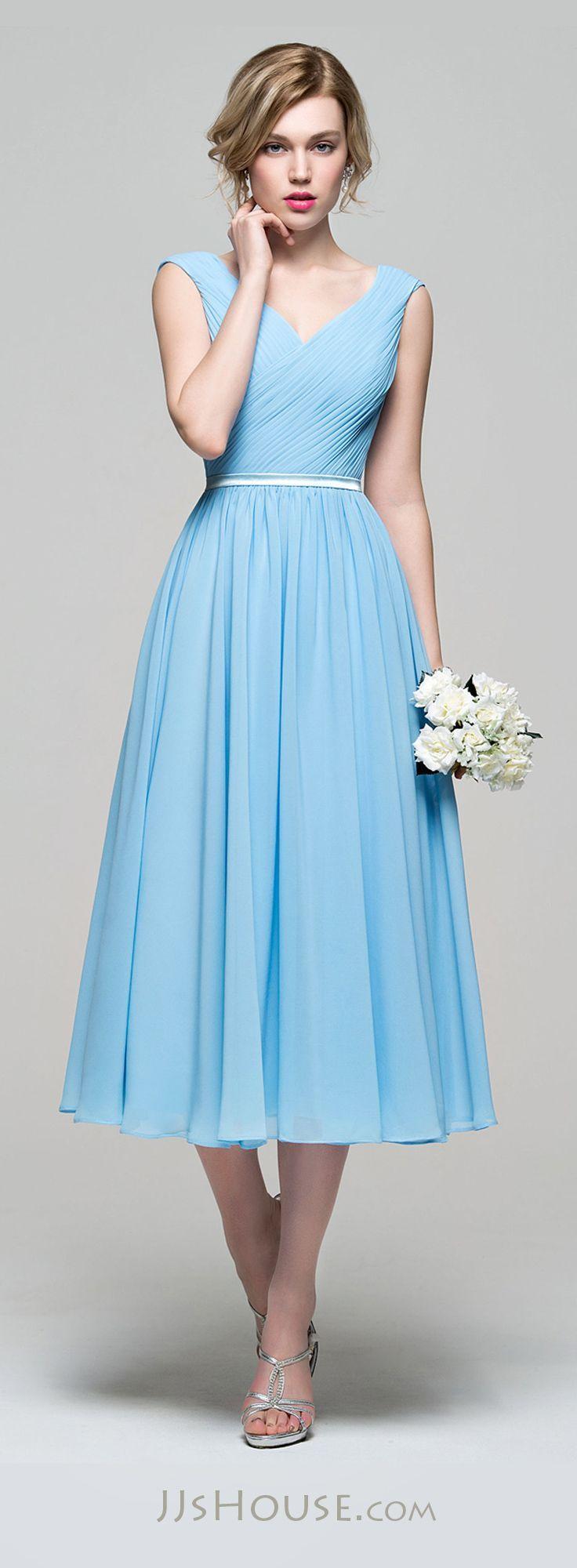 A-Line/Princess V-neck Tea-Length Chiffon Bridesmaid Dress With ...
