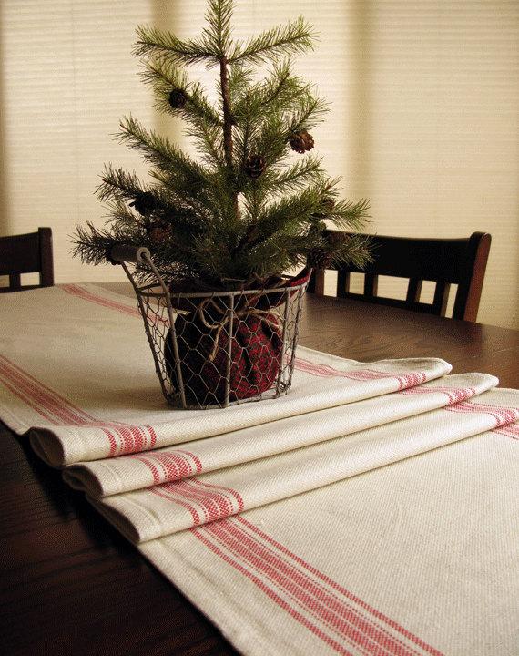 Farmhouse Table Runner   Grain Sack Table Runner   Country Table Decor    Red Stripe Runner