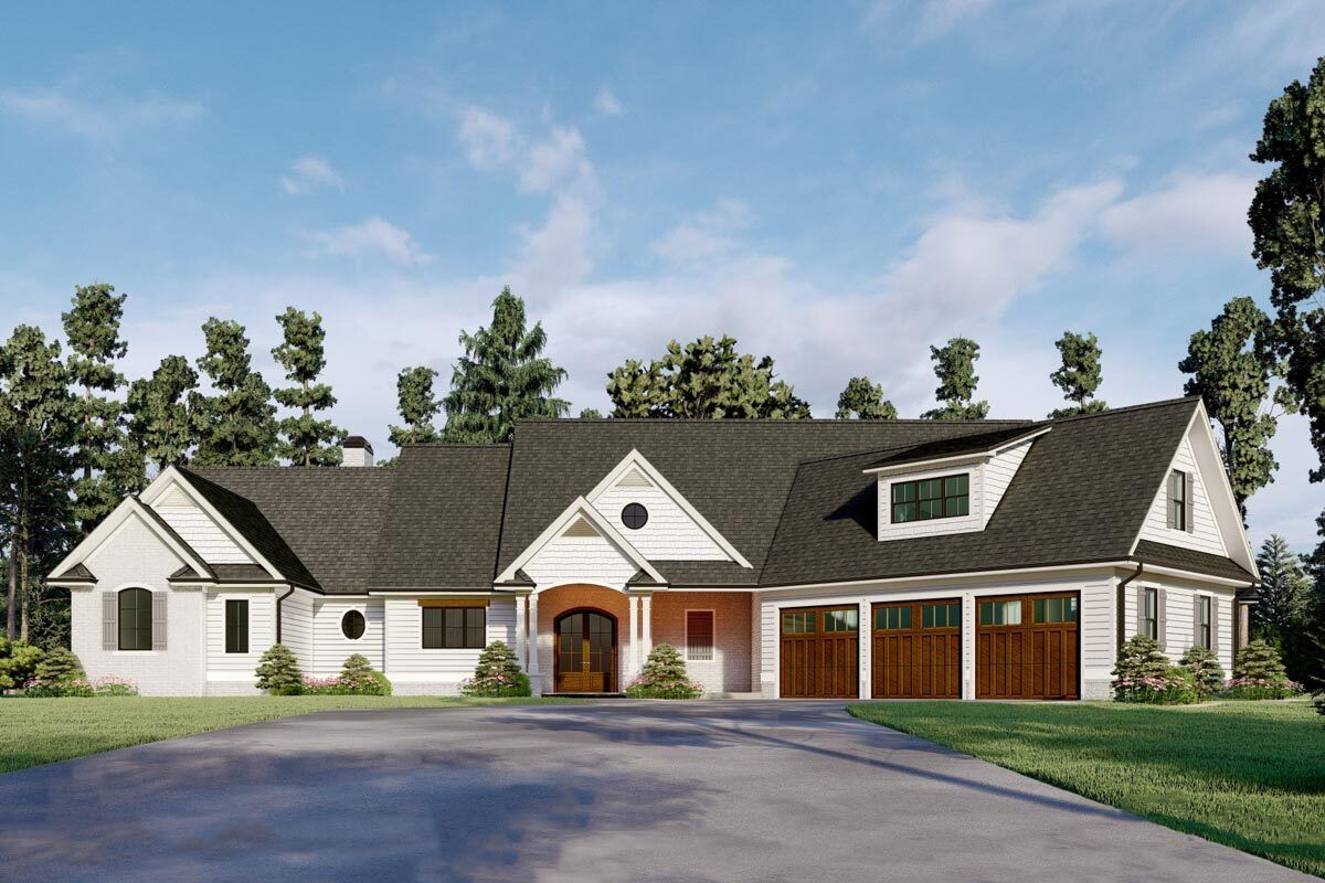 Two story Country House Plan with Home fice and Angled Garage