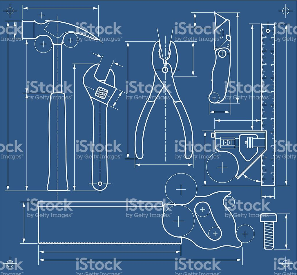 A vector illustration of some tools made to look like a blueprint a vector illustration of some tools made to look like a blueprint malvernweather Choice Image