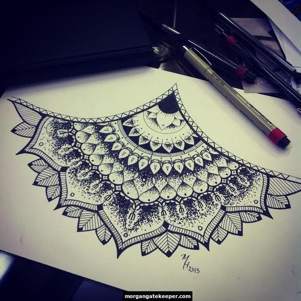 Henna Tattoo Designs Under Breast: Mandala Henna Pattern Tattoo