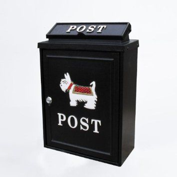 Black Lockable Wall Hanging Post Mail Letter Box With Scotty Dog Design Amazon Co Uk Kitchen Home 43 Mail Letters Hanging Letters Bottle Opener Wall