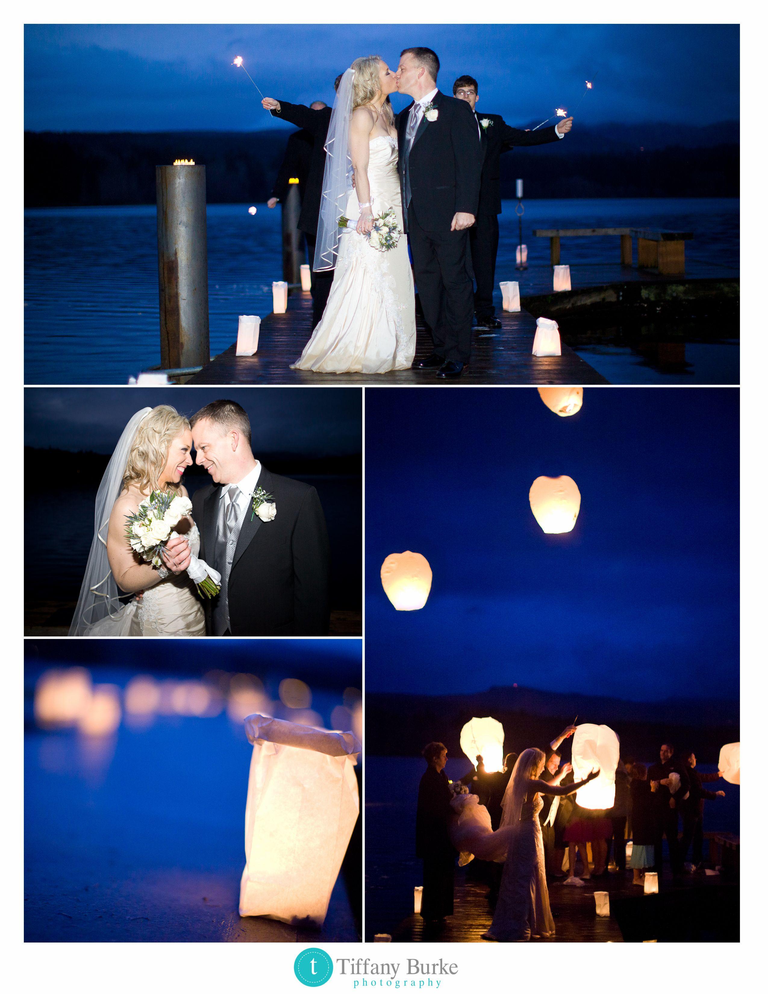 Romantic Evening Wedding On A Lake. Wedding Lanterns On Dock, Lanterns In  Sky Www