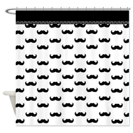 Its raining black Mustache Shower Curtain on CafePress.com ...