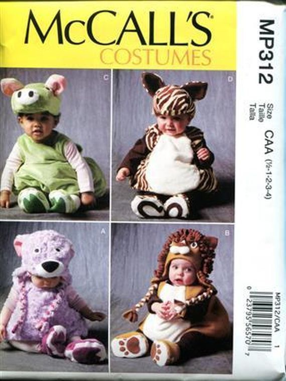 Baby Halloween Costume Pattern, McCall's 6812/ MP312, Size 1/2 1 2 ...