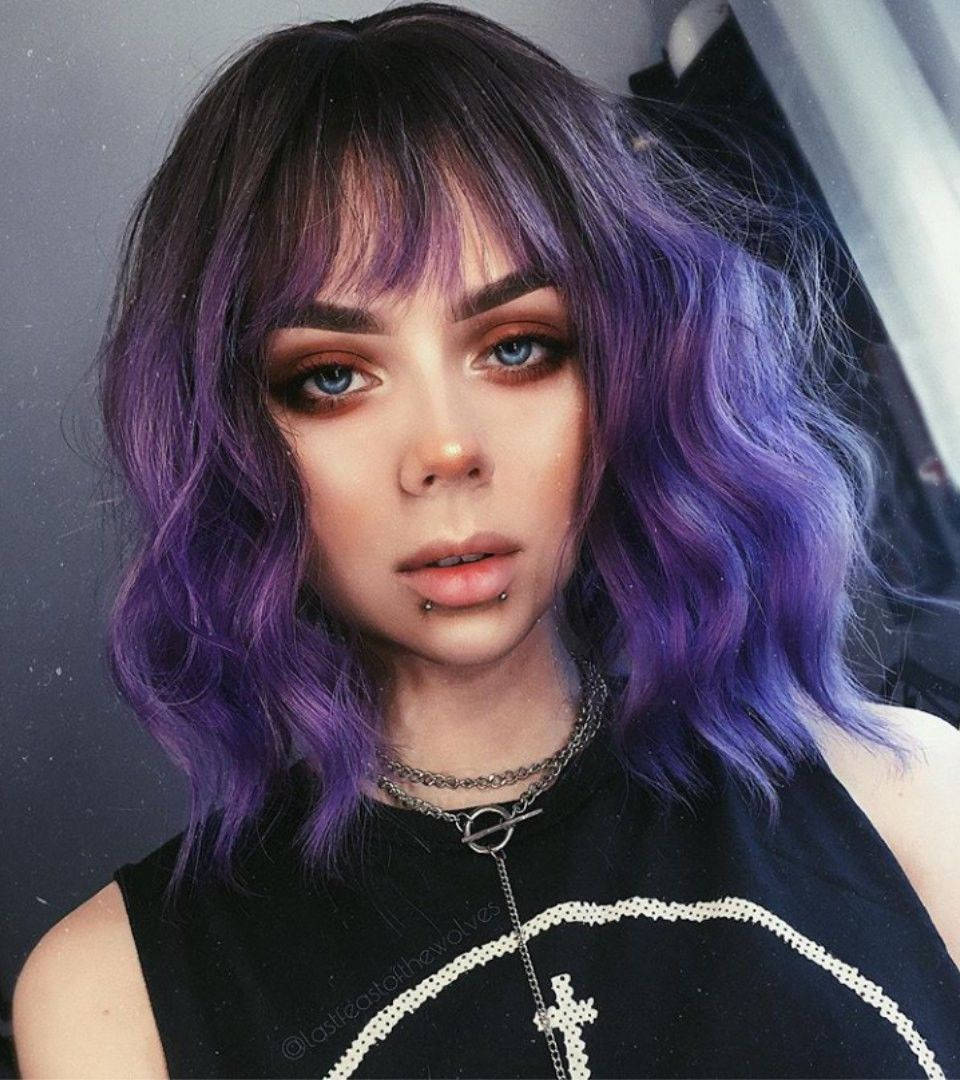 Pin By Elizaveta On Pet L I Short Purple Hair Short Hair With Bangs Best Purple Hair Dye