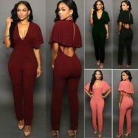 Women Ladies Clubwear V Neck Playsuit Bodycon Party Jumpsuit/&Romper Trousers