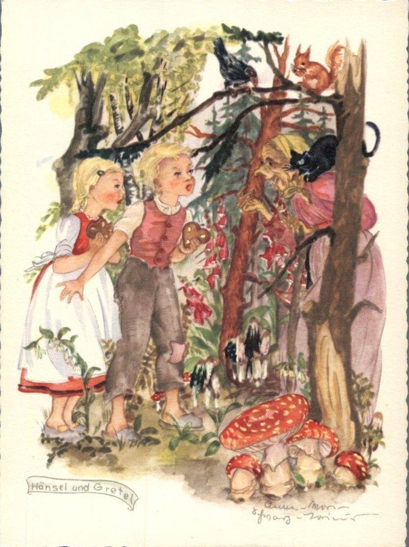 Vintage Fairy Tale Postcard Art - Tales Grimm Fairies