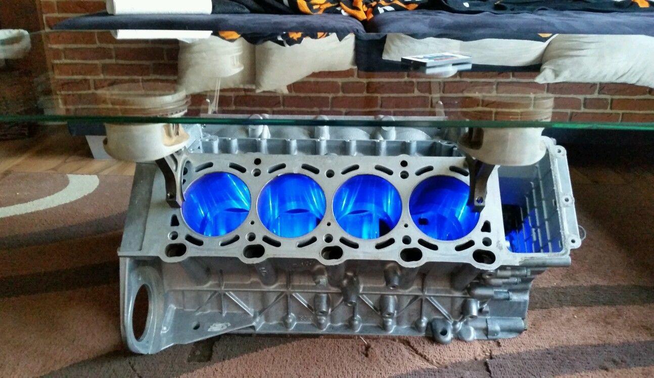BMW V8 Motor Tisch Wohnzimmertisch Mit LED Fernbedienung 20 Farben Minibar
