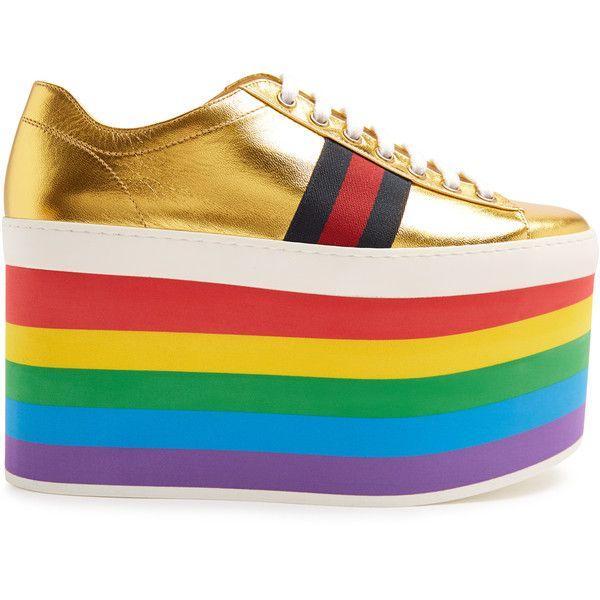 51bc00caa65 Gucci Peggy low-top rainbow-platform trainers ( 950) ❤ liked on Polyvore  featuring shoes