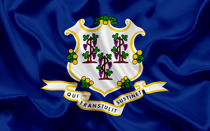 Download Wallpapers Connecticut Flag Flags Of States Flag State Of Connecticut Usa State Connecticut Blue Silk Besthqwallpapers Com Connecticut Flag Flag State Flags