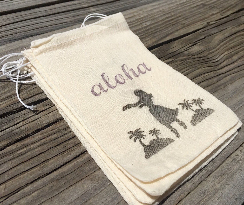 10 Hawaiian Favor Bags, Aloha favor bags, hula girl favors, luau ...