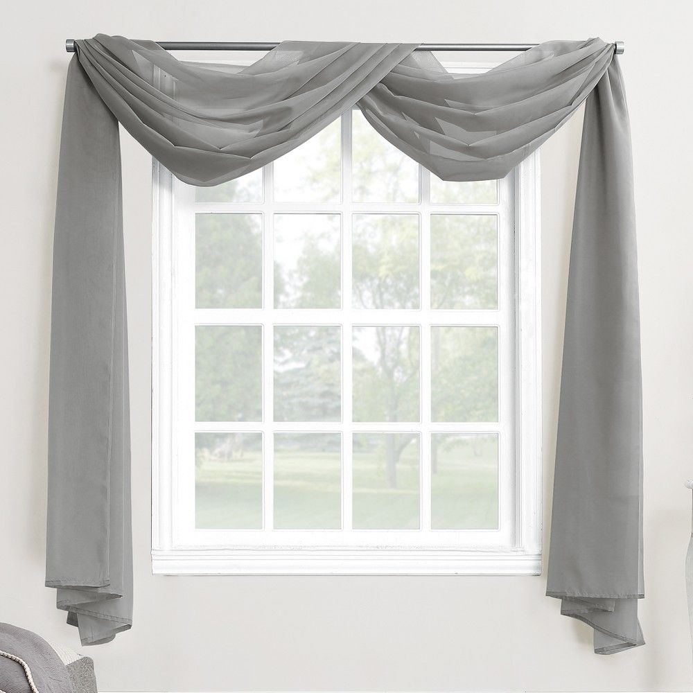 Emily Sheer Voile Window Curtain Scarf Charcoal 59 X216 No 918