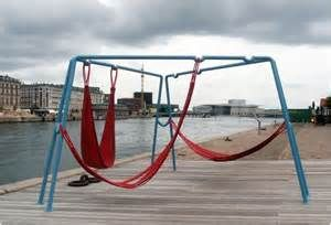 Copenhagen public hammock furniture. Made from old firehouses. Great positioning features.