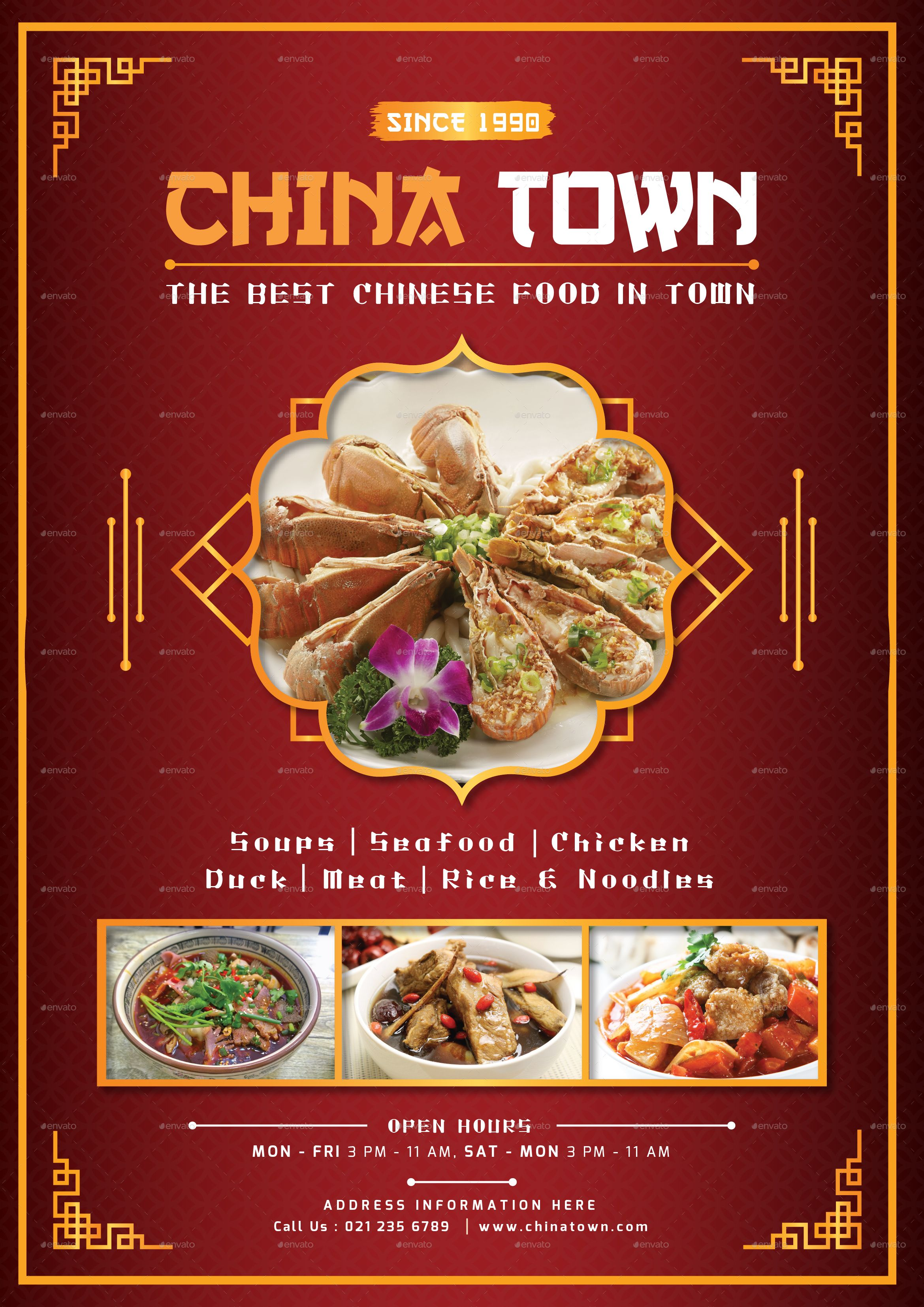 this is a beautiful food menu design for a chinese food restaurant