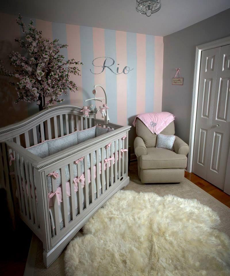 Soft And Elegant Gray And Pink Nursery: Baby Girl Nursery Chic Romantic Girly Light Pink Gray Tan