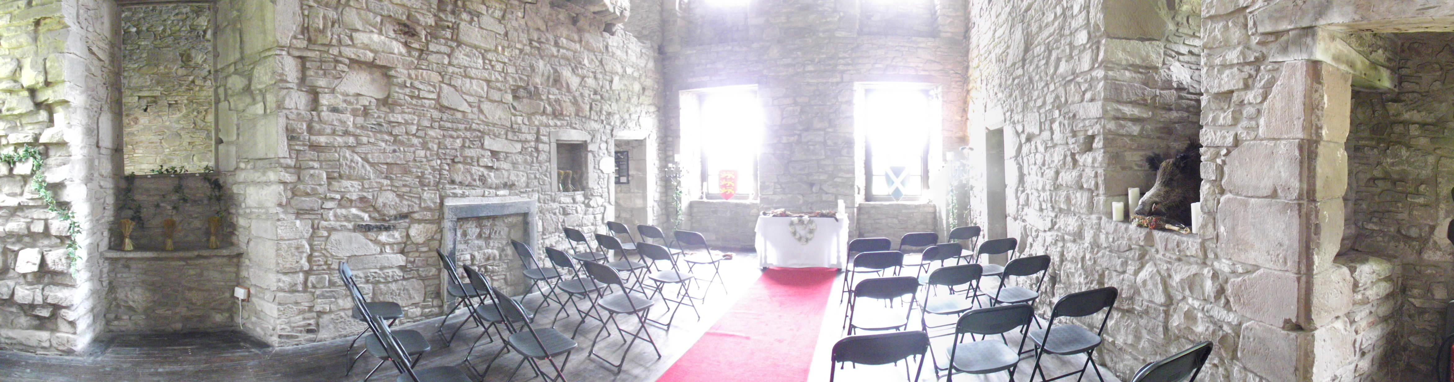 A panorama of the medieval/hunting themed wedding | Huntingtower ...