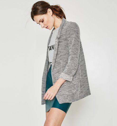2e2c87acb9 Longue veste tweedée Femme gris clair - Promod | Street Style ...