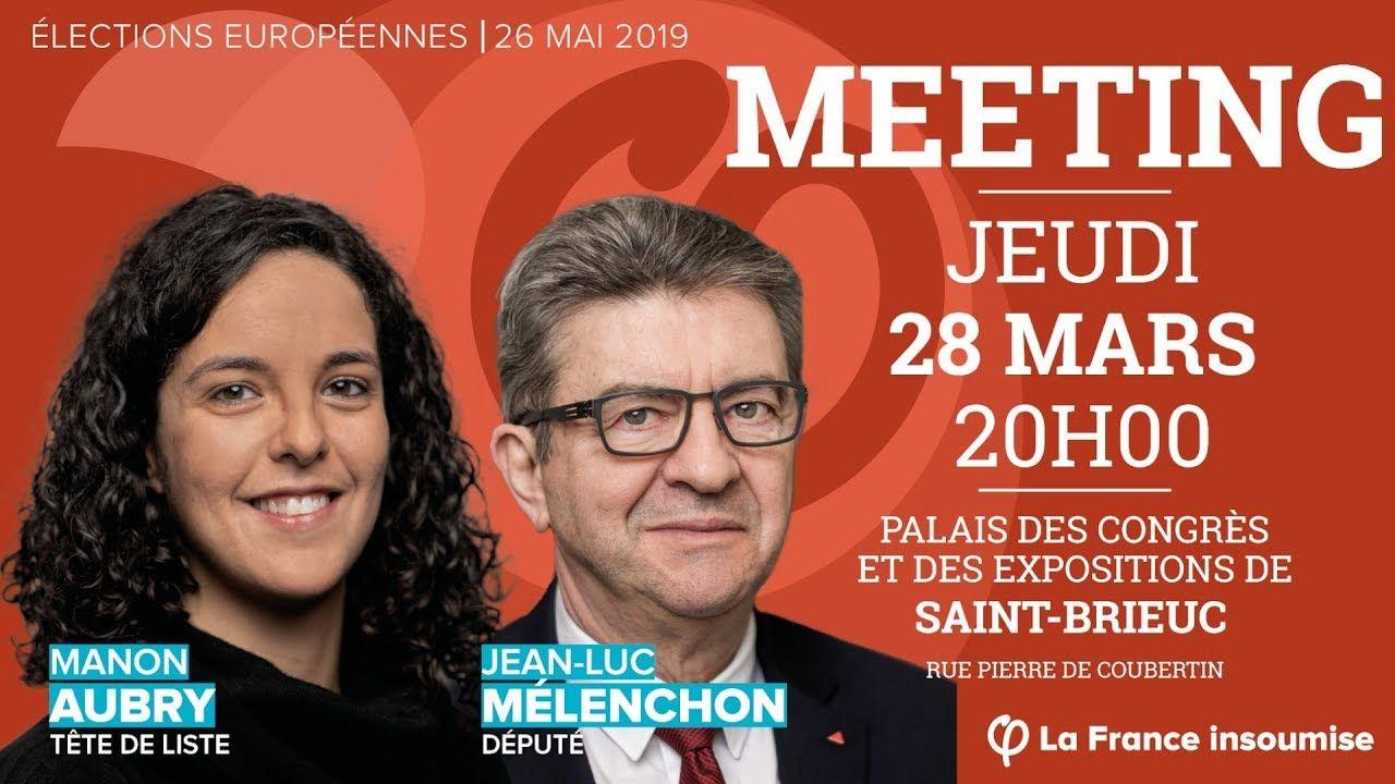 Meeting avec JeanLuc Mélenchon et Manon Aubry Aubry