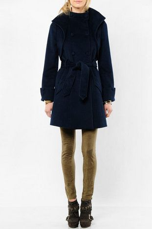 Mike Gonzalez Emille Double Breasted Trench Coat with Bolero in Navy $161 at www.tobi.com
