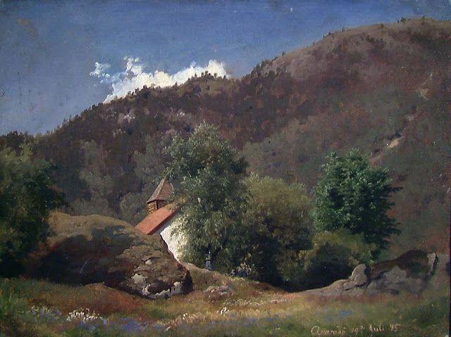 Hans Gude (1825-1903), Den gamle kirken på Kvamsøy - 1845