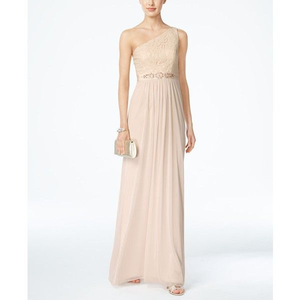 Adrianna Papell Embellished Lace One-Shoulder Gown ($179) ❤ liked ...