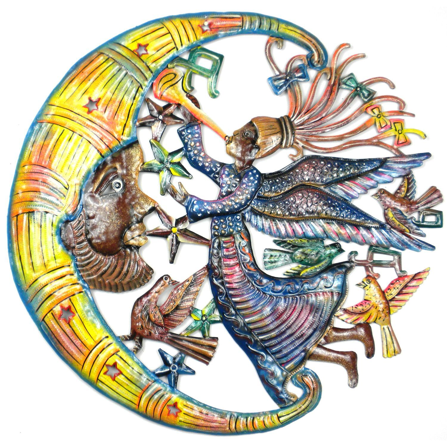 Global Crafts 24-Inch Painted Angel and Moon Metal Wall Art