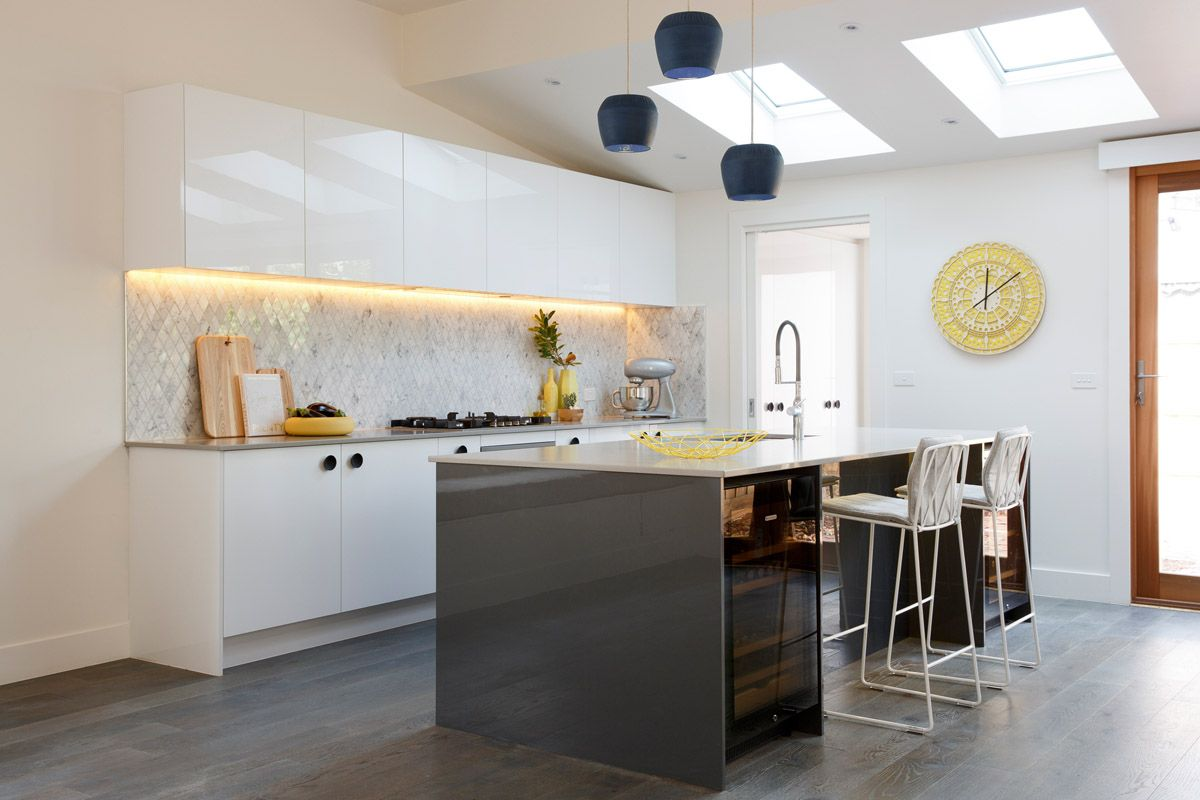 Carly Leighton Contemporary Art Deco Kitchen Freedom Kitchens Caesarstone  Raw Concrete (1)