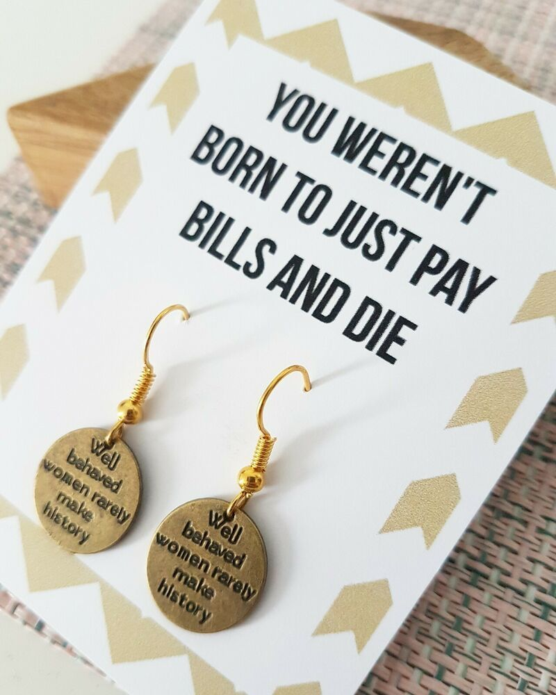 Women Bronze Earrings Birthday Gift for Friend Woman Colleague Gift Funny