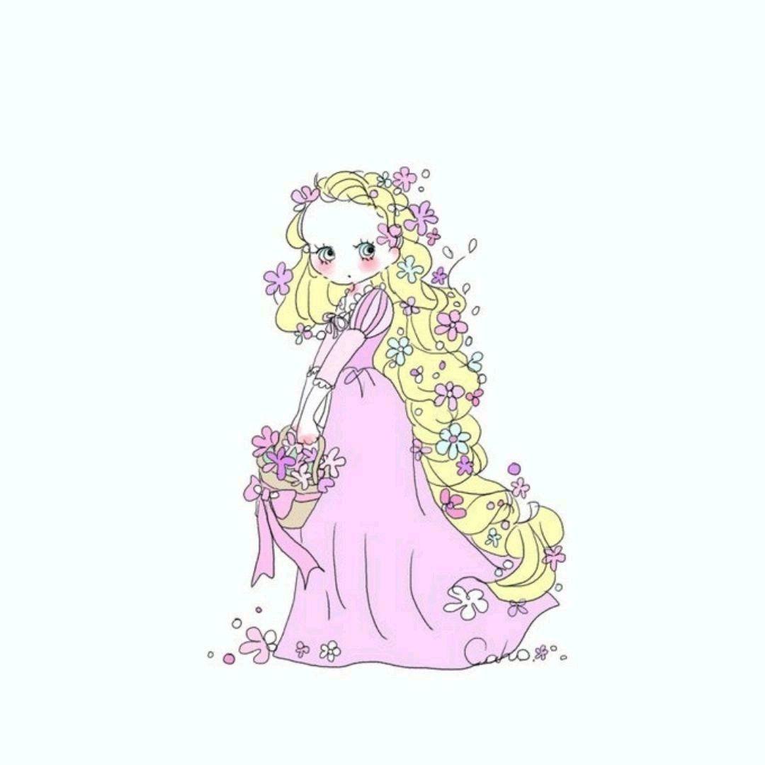 Rapunzel 芸術的アニメ少女 お姫様 イラスト キュートなイラスト