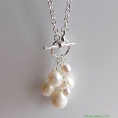 Genuine fresh water Pearl focal set-bird charm pendant silver tone charm set