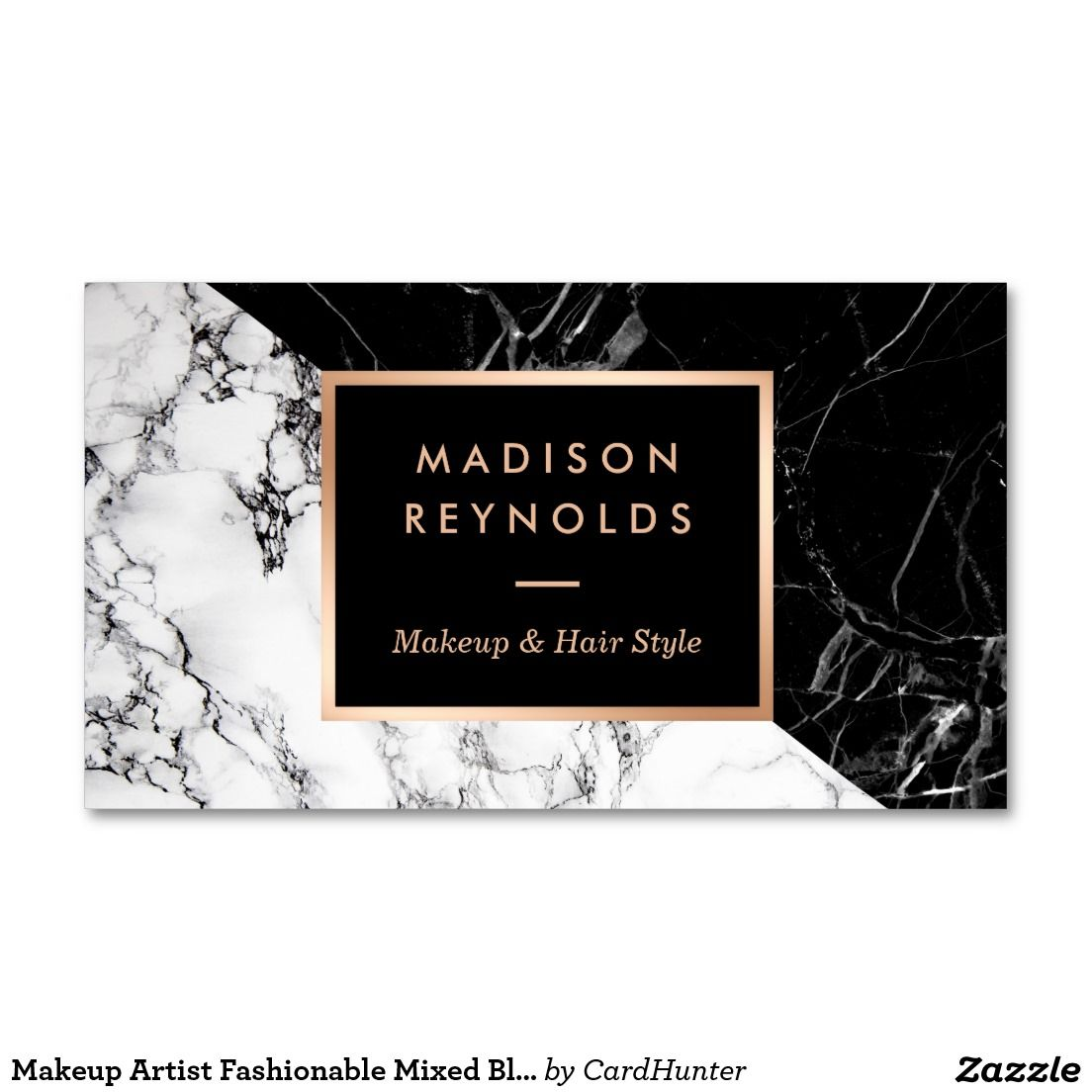 Makeup Artist Fashionable Mixed Black White Marble Business Card ...
