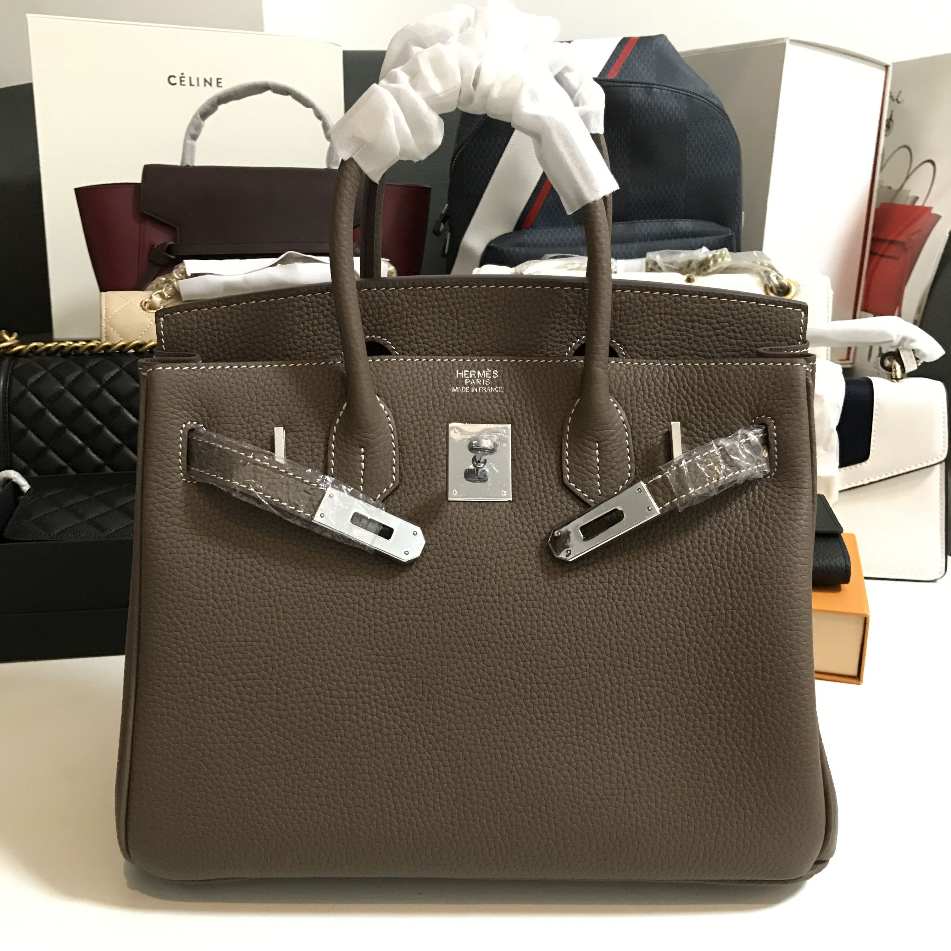 d76b70cfe3 Hermes birkin togo leather gray silver 30cm high quality