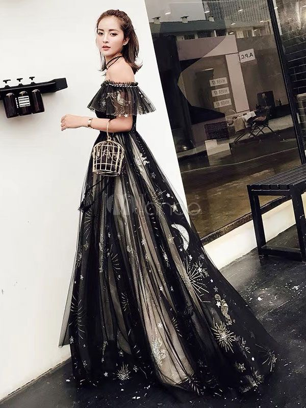 Photo of Prom Dresses Long Off Shoulder Star Moon Tulle Maxi Formal Party Dress