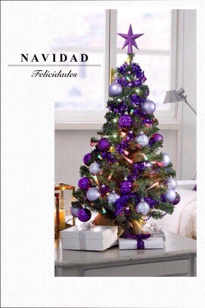 Decoraci Ef Bf Bdn De Navidad  En Blanco Plata Y Morado