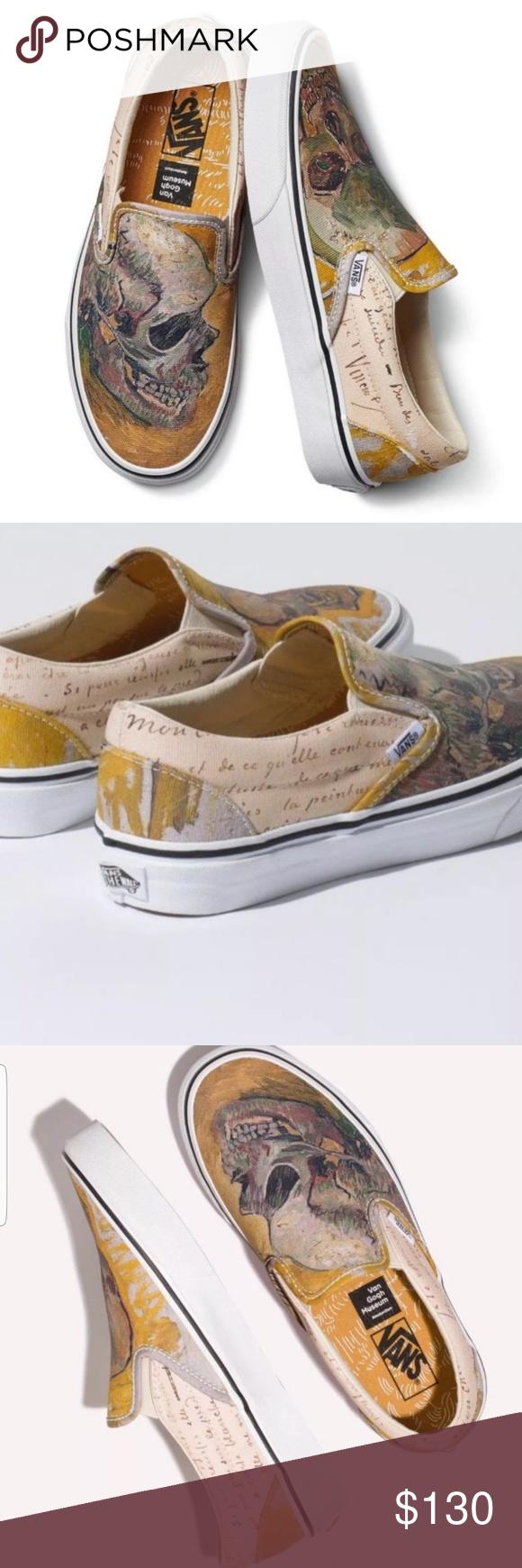 Nib Vans Vincent Van Gogh Skull Classic Slip Ons Clothes Design Womens Vans Vans Shoes