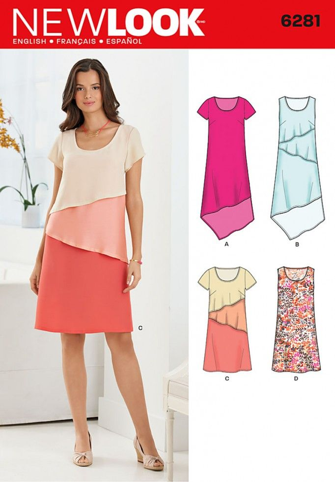 New Look Ladies Easy Sewing Pattern 6281 Plain & Layered Dresses ...
