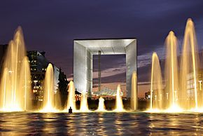 The Grande Arche is the central and iconic building of La Défense. It is, with the Arc de Triomphe de l'Étoile and the Arc de Triomphe du Carrousel, the third arch on the historical axis of Paris.